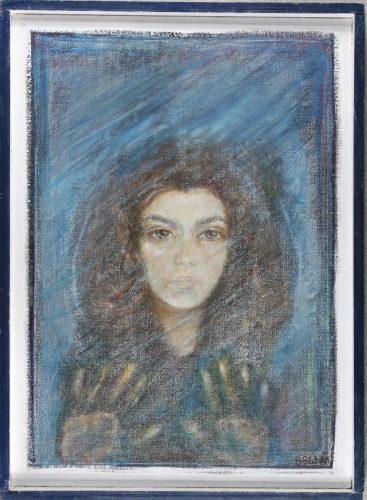 Barbara Bielecka-Wożniczko, Autoportret I - 1980, technika własna, 68x50
