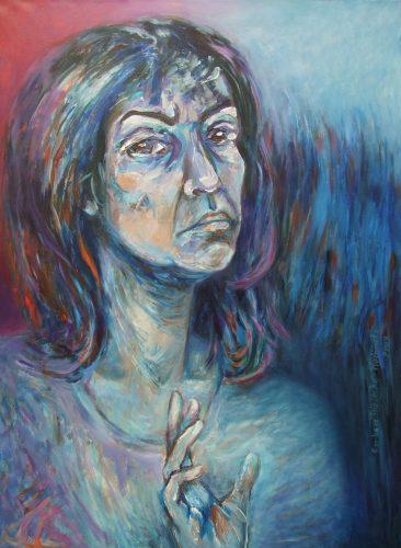 Barbara Bielecka-Wożniczko, Autoportret III - 2009, akryl, płótno, 92x65
