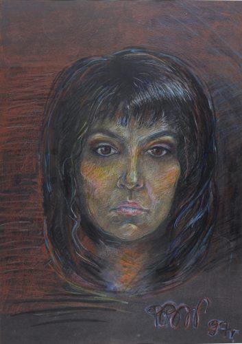 Barbara Bielecka-Wożniczko, Autoportret II - 1996, pastel, 66x46